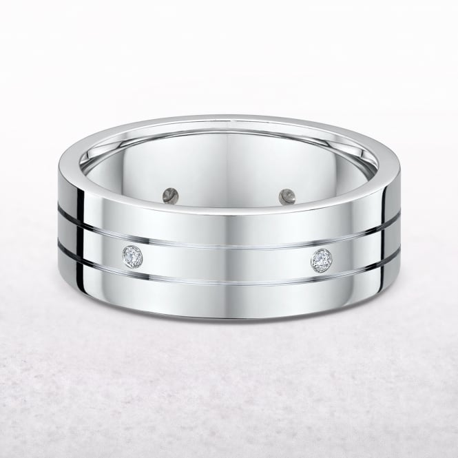 Gents 0.15ct Diamond & White Gold Wedding Band