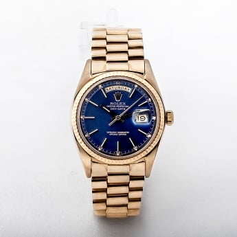 Gents 18ct Rolex Day Date Blue Dial Watch. Model 1803.