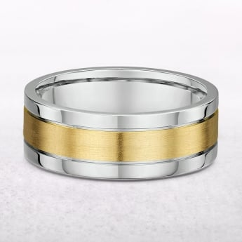 Gents 18ct White & Yellow Gold Wedding Band