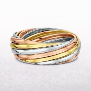 Gents 3 Tone Twist Wedding Band