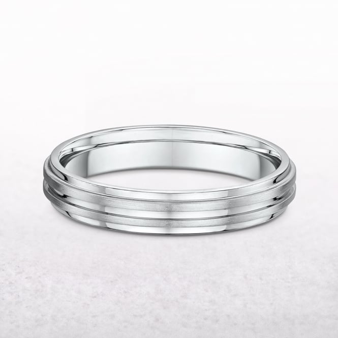 Gents 4mm White Gold Wedding Band