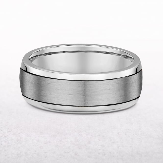 Gents 5mm Platinum Fancy Wedding Band