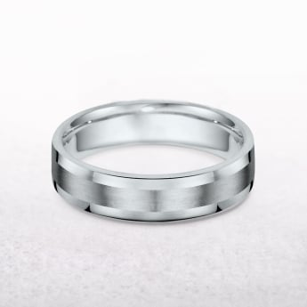 Gents 5mm Platinum Flat Edge Wedding Band