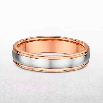 Gents 5mm Rose & White Gold Wedding Band