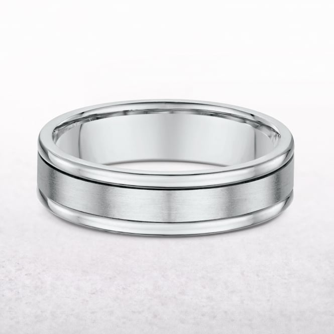 Gents 5mm White Gold Three Row Wedding Band
