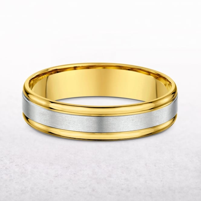 Gents 5mm Yellow & White Gold Wedding Band