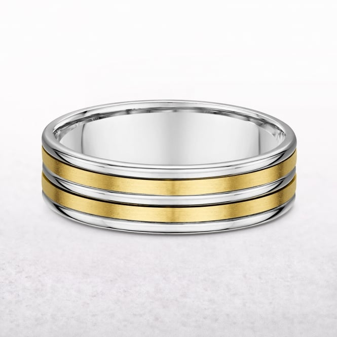 Gents 6.4mm Five Row White & Yellow Gold Wedding Band