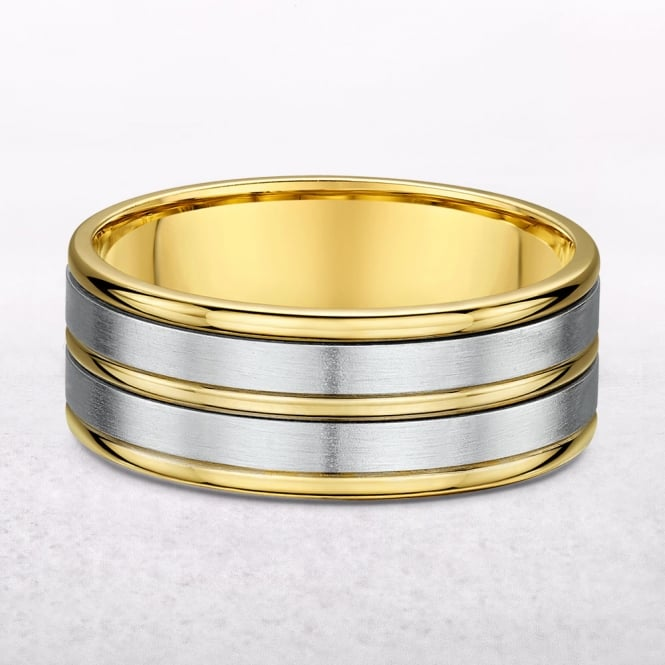 Gents 6.5mm Five Row Yellow Gold Wedding Band