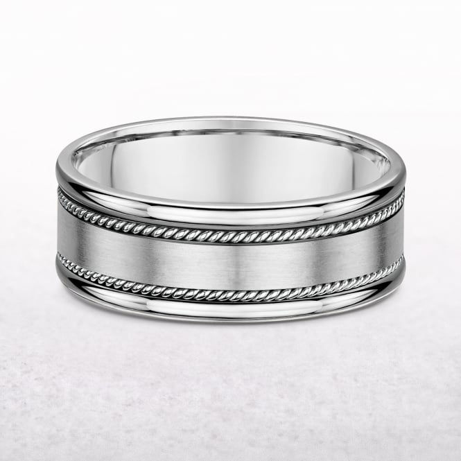 Gents 6.5mm White Gold Braided Edged Wedding Band
