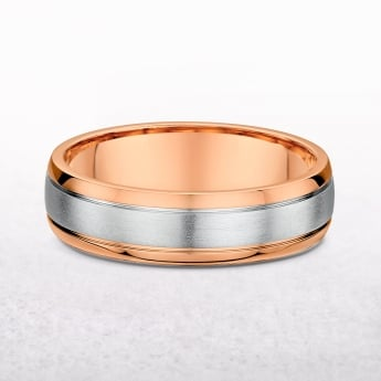 Gents 6mm Rose & White Gold Wedding Band