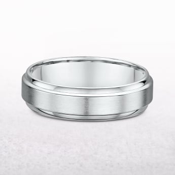 Gents 6mm White Gold Wedding Band