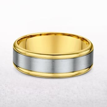Gents 6mm Yellow & White Gold Wedding Band