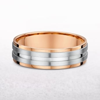 Gents 7.3mm Rose & White Gold Wedding Band