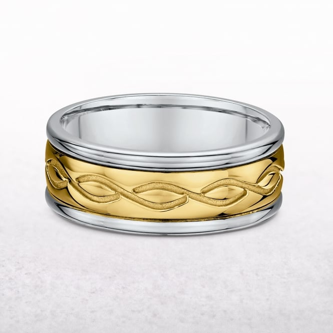 Gents 7.5mm Yellow & White Gold Celtic Knot Band