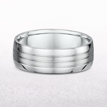 Gents 7mm Fancy White Gold Wedding Band