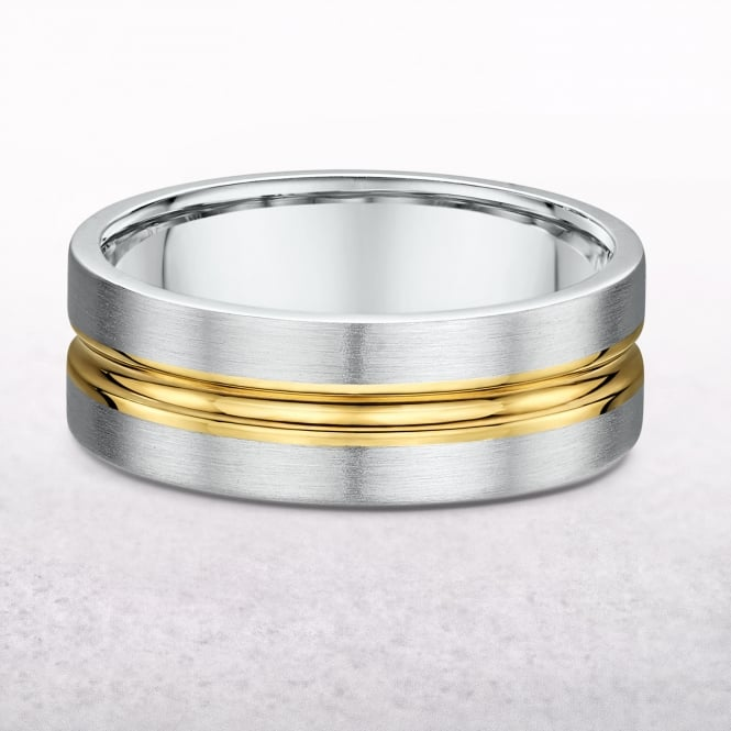 Gents 7mm Fancy Yellow & White Gold Wedding Band
