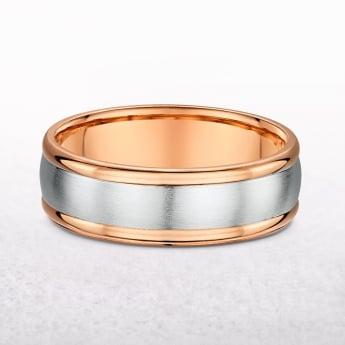 Gents 7mm Rose & White Gold Satin Centre Wedding Band