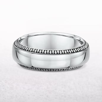Gents 7mm White Gold Comfort Wedding Band