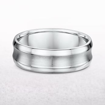 Gents 7mm White Gold Con Cave Wedding Band