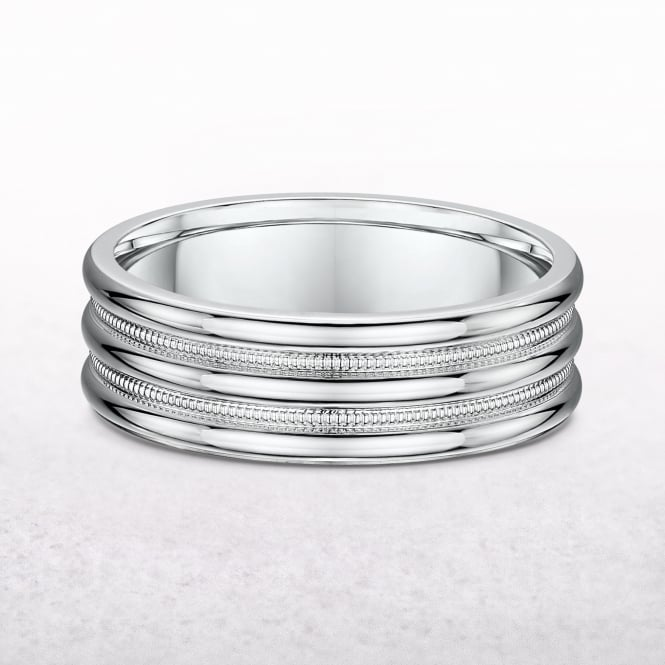 Gents 7mm White Gold Polished Wedding Band