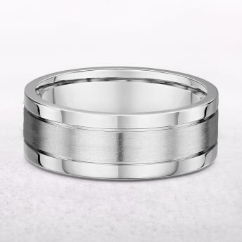 Gents 7mm White Gold Three Row Wedding Band