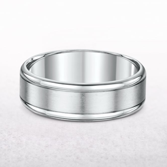 Gents 7mm White Gold Wedding Band
