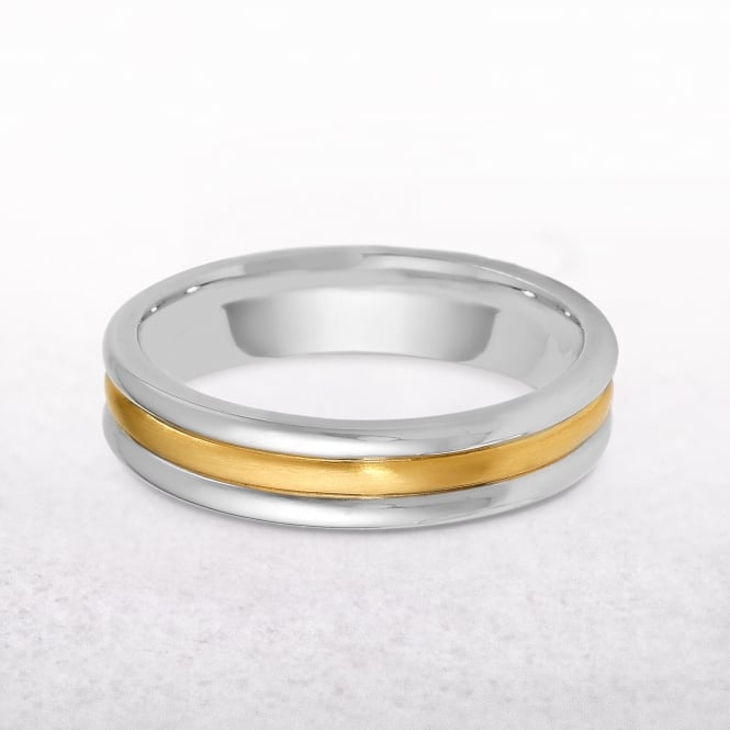 Gents 7mm White & Yellow Gold Rib Wedding Band