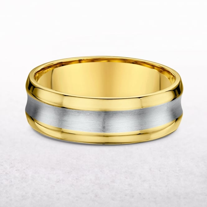 Gents 7mm Yellow & White Gold Con Cave Wedding Band