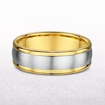 Gents 7mm Yellow & White Gold Polished Edge Wedding Band