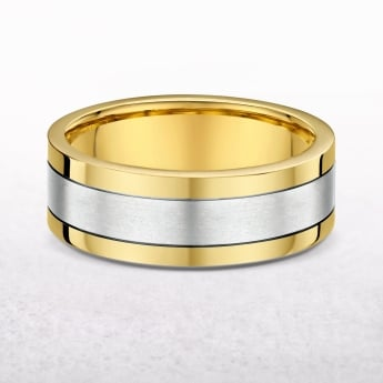Gents 7mm Yellow & White Gold Wedding Band