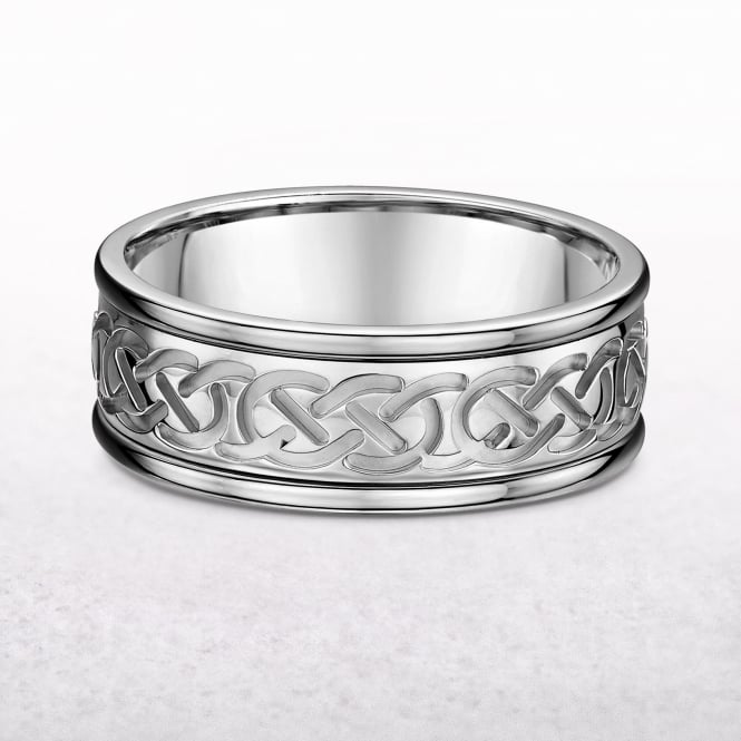 Gents 8.45mm White Gold Celtic Knot Ring