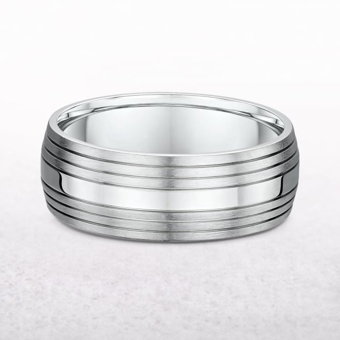 Gents 8mm Fancy White Gold Wedding Band