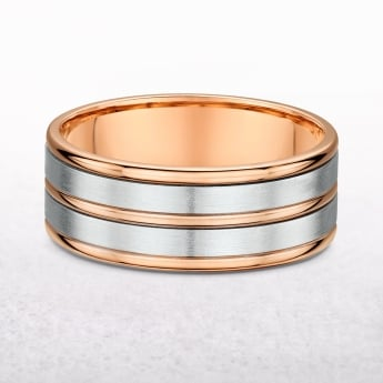 Gents 8mm Five Row Rose & White Gold Wedding Band
