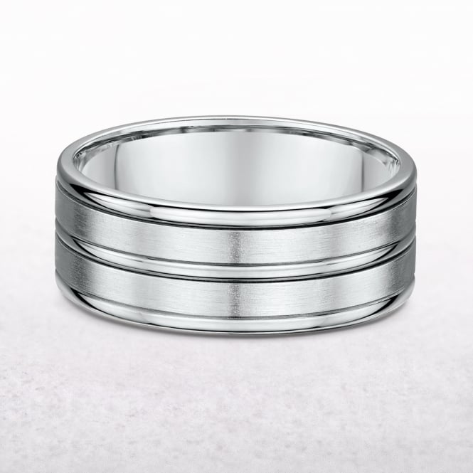 Gents 8mm Five Row White Gold Wedding Band