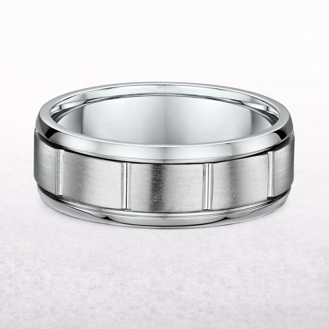 Gents 8mm Palladium Ridge Wedding Band