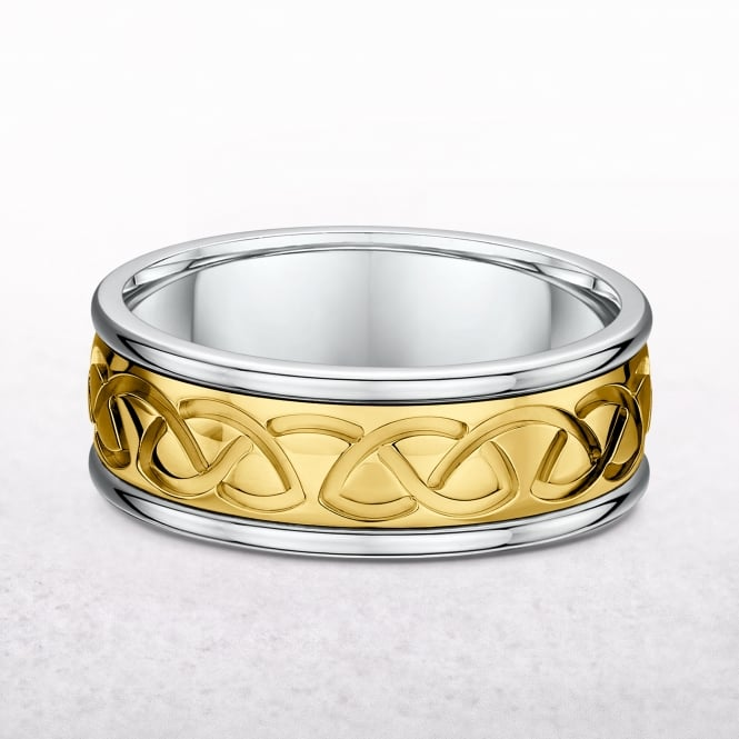 Gents 8mm Yellow & White Gold Celtic Wedding Band