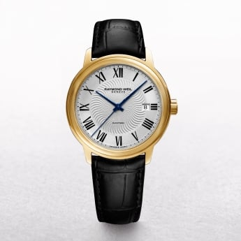 Gents Automatic Maestro Raymond Weil Gold Plated Round White Dial on a Leather Strap