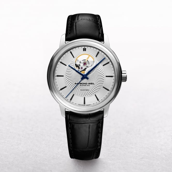 Gents Automatic Maestro Raymond Weil Stainless Steel with Round White Dial Strap