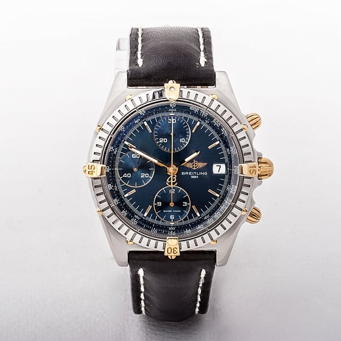 Gents Breitling Chronomat with Blue Date Dial & Leather Strap