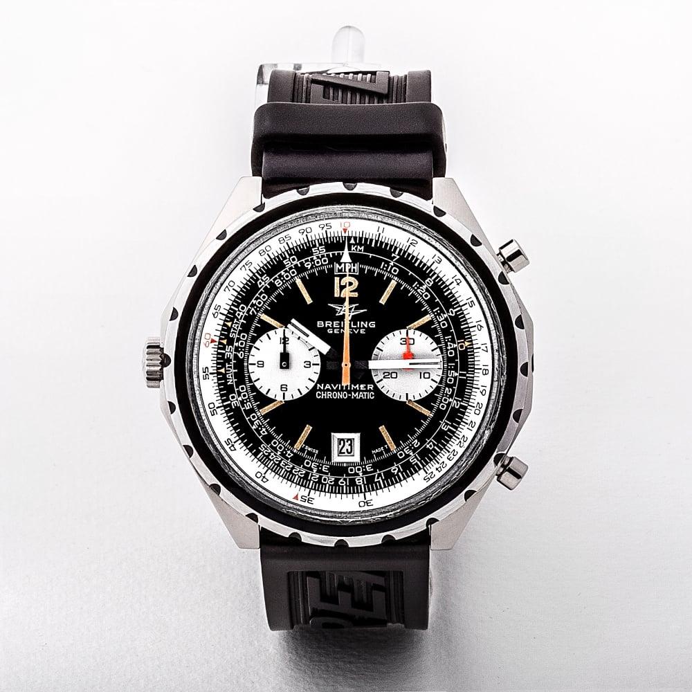 Gents Breitling Navitimer Chronomatic Black Rubber Strap dbb19d08398