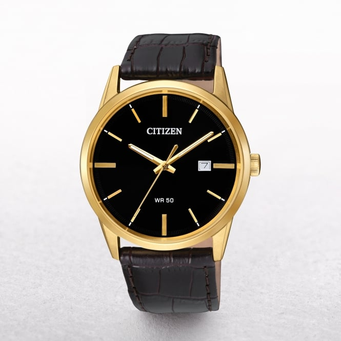 Gents Citizen Classic Gold Plated Case On a Leather Strap