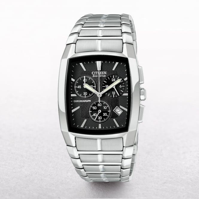 Gents Citizen Eco-Drive Black Rectangle Dial With Chronograph