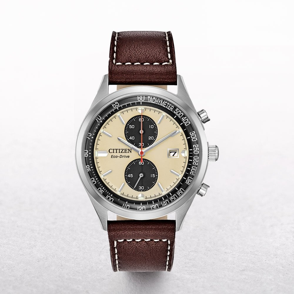 Gents Citizen Eco-Drive Chandler Chronograph with a Brown ...