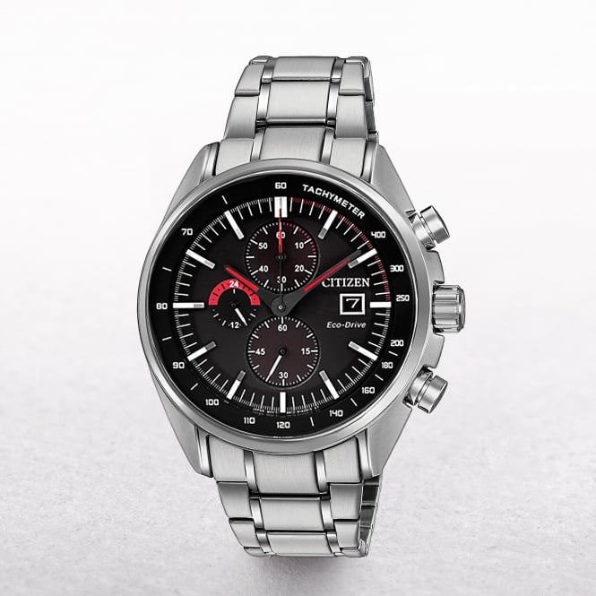 Gents Citizen Eco-Drive Chronogrph & Tachymeter with Black Dial