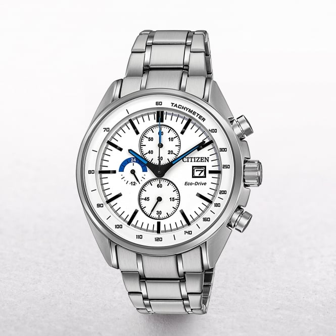 Gents Citizen Eco-Drive Chronogrph & Tachymeter with White Dial