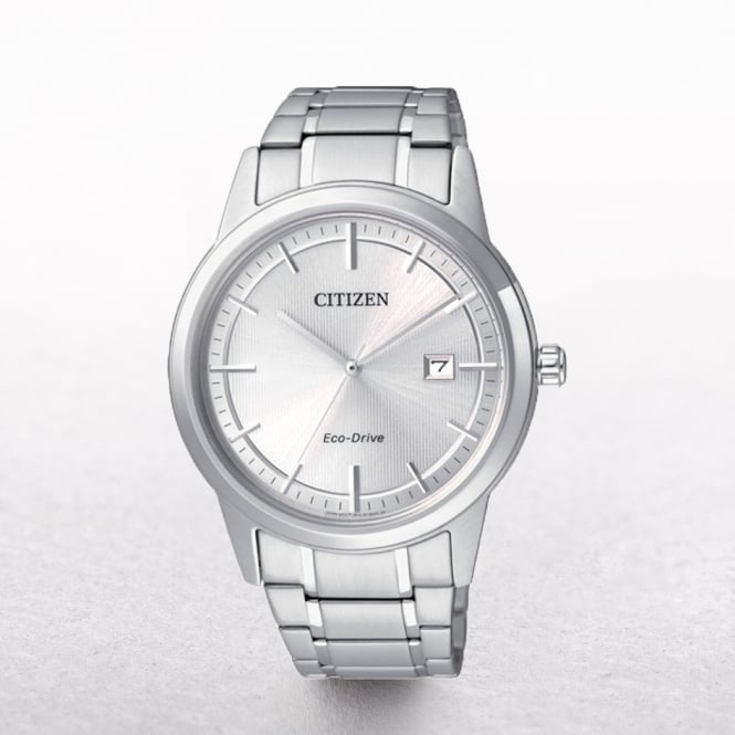 Gents Citizen Eco-Drive Classy Silver Tone Dial with Date Window
