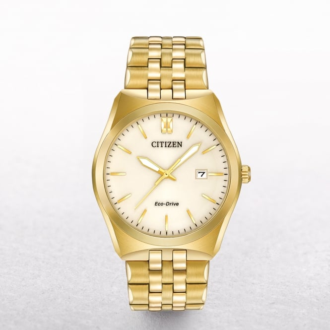 Gents Citizen Eco-Drive Corso Gold Tone Watch with Champagne Dial
