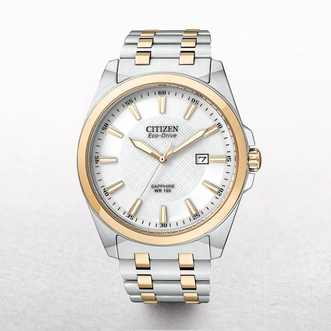 Gents Citizen Eco-Drive Gold Plated & Stainless Steel Watch