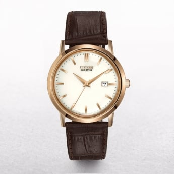 Gents Citizen Eco-Drive Rose Gold & Ivory Dial On a Leather Strap