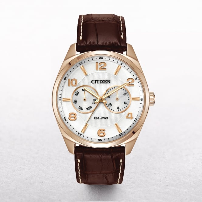 Gents Citizen Eco-Drive Rose Gold Tone White Date & Day Dial